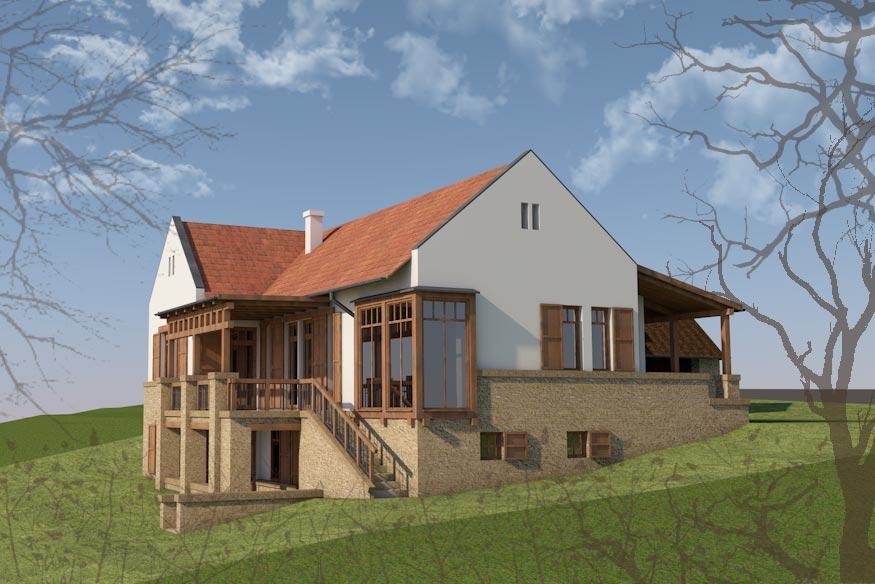 Családi ház domboldalban